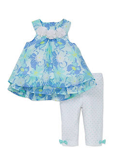 Little Me Blue Floral Tunic and Legging Set