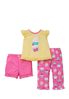 Little Me 3-Piece Cupcake Top and Pajama Bottoms Set