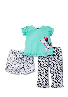 Little Me 3-Piece Dalmation Top and Pajama Bottoms Set