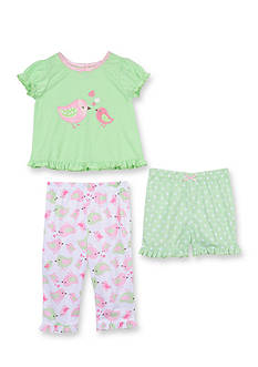 Little Me 3-Piece Bird Dot Pajama Set Toddler Girls
