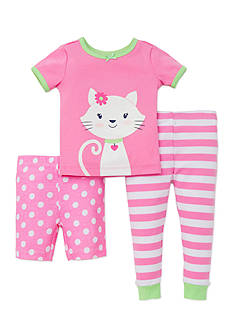 Little Me 3-Piece Cat Dot Stripe Pajama Set Toddler Girls