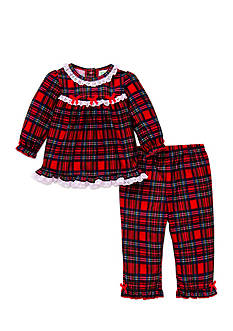 Little Me Plaid 2-Piece Pajama Set Toddler Girls