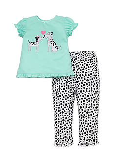 Little Me 2-Piece Dalmatian Tee and Pants Pajama Set