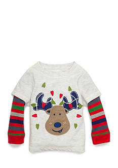 Nursery Rhyme Reindeer Striped Long-Sleeve Thermal Tee Infant/Baby Boys