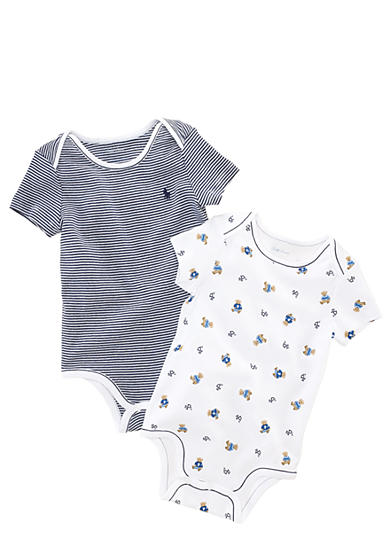 Ralph Lauren Childrenswear Bear Printed Bodysuit Pack of 2<br>