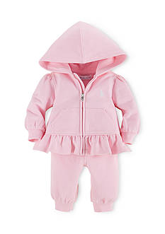 Ralph Lauren Childrenswear Cotton Terry Fleece Hoodie and Pants Set Girls 3-24 Months