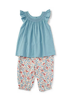 Ralph Lauren Childrenswear Jersey Smocked Top and Pants Set Baby/Infant Girl