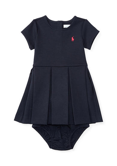 Ralph Lauren Childrenswear Ponte Pleated Dress Baby/Infant Girl