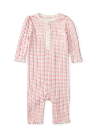 Ralph Lauren Childrenswear Striped Coveralls Baby/Infant Girl