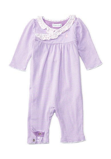 Ralph Lauren Childrenswear Striped Cotton Coverall Baby Girls