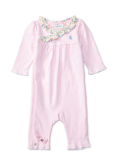 Ralph Lauren Childrenswear Striped Cotton Coverall Baby Girl