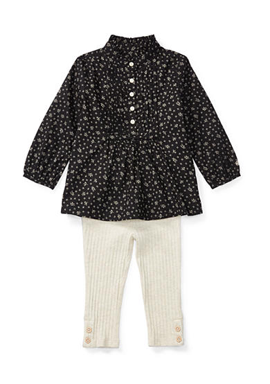 Ralph Lauren Childrenswear 2-Piece Floral Top and Rib-Knit Leggings Set