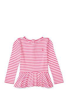 Ralph Lauren Childrenswear Striped Jersey Peplum Tee Baby Girl