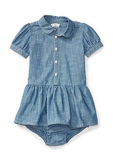 Ralph Lauren Childrenswear Chambray Shirt-Dress & Bloomer Baby Girl