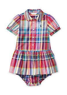 Ralph Lauren Childrenswear Plaid Poplin Woven Dress Baby Girls