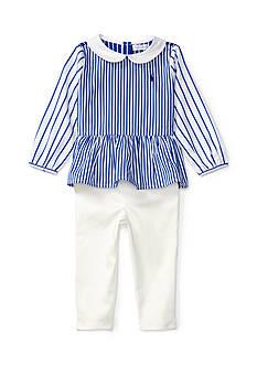Ralph Lauren Childrenswear Striped Top and Denim Leggings Baby Girl