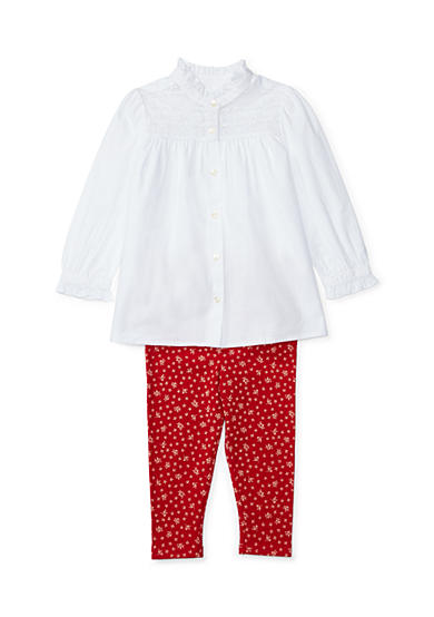Ralph Lauren Childrenswear 2-Piece Top and Floral Leggings Set Infant/Baby Girls