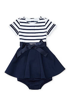 Ralph Lauren Childrenswear Striped Ponte Dress & Bloomer Baby Girl