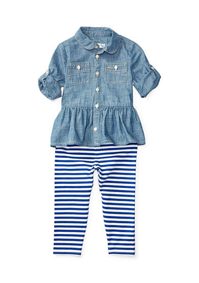 Ralph Lauren Childrenswear Chambray Top & Legging Set Baby Girl