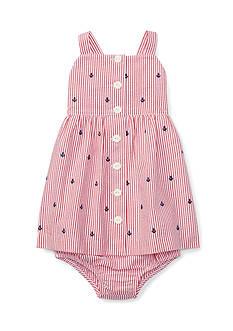 Ralph Lauren Childrenswear 2-Piece Anchor Seersucker Bloomer and Dress Set