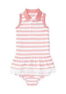 Ralph Lauren Childrenswear 2-Piece Stretch Striped Polo Dress and Bloomer Set
