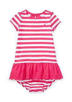 Ralph Lauren Childrenswear Cotton Stripe to Eyelet Dress