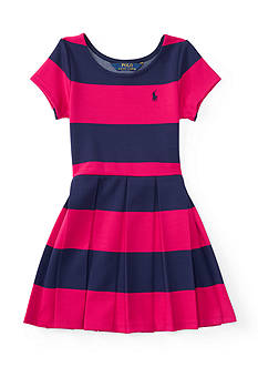 Ralph Lauren Childrenswear Striped Ponte Dress Toddler Girl