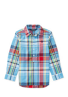 Ralph Lauren Childrenswear Plaid Cotton Poplin Top Toddler Girls