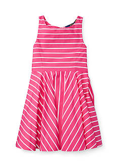 Ralph Lauren Childrenswear Striped Cotton Sateen Dress Toddler Girls
