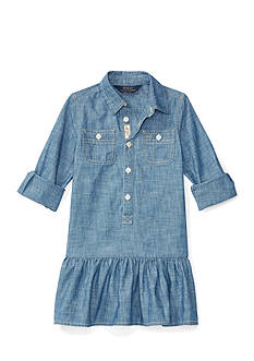 Ralph Lauren Childrenswear Chambray Woven Dress Toddler Girls