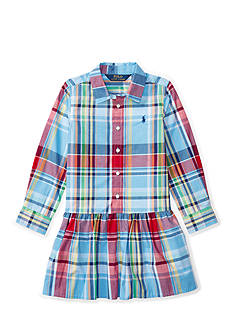 Ralph Lauren Childrenswear Plaid Poplin Shirt-Dress Toddler Girls