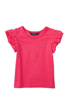 Ralph Lauren Childrenswear Cotton Jersey Flutter Top Toddler Girls