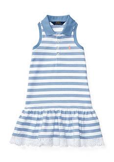 Ralph Lauren Childrenswear Striped Stretch Sleeveless Polo Dress Toddler Girls