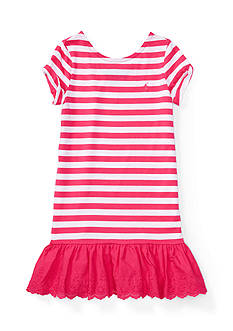 Ralph Lauren Childrenswear Cotton Stripe To Eyelet Dress Toddler Girls