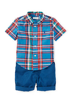 Ralph Lauren Childrenswear 2-Piece Plaid Shirt and Short Set