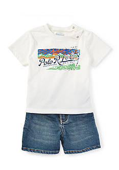 Ralph Lauren Childrenswear 2-Piece Graphic Tee and Short Set