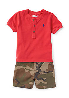 Ralph Lauren Childrenswear 3-Piece Shirt, Camo Short, and Belt Set