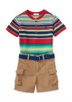 Ralph Lauren Childrenswear 3-Piece Shirt, Cargo Short, and Belt Set