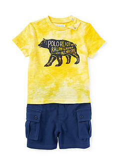 Ralph Lauren Childrenswear 2-Piece Graphic Tee and Cargo Short Set