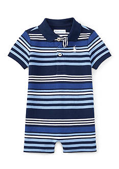 Ralph Lauren Childrenswear Mesh Stripe Polo One Piece Shortall Baby/Infant Boy