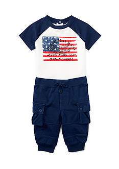 Ralph Lauren Childrenswear Jersey Cargo Shirt and Pants Set Baby/Infant Boy