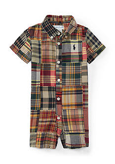 Ralph Lauren Childrenswear Poplin Patchwork Shortall One Piece Baby/Infant Boy