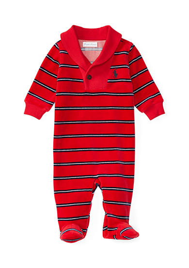 Ralph Lauren Childrenswear Baby Boy Striped Velour Footed Coverall