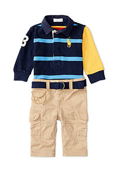 Ralph Lauren Childrenswear 3-Piece Rugby Shirt, Cargo Pants, and Belt Set Baby/Infant Boy