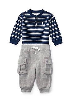 Ralph Lauren Childrenswear 2-Piece Jersey Henley and Fleece Cargo Pants Set Baby/Infant Boy
