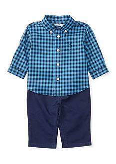 Ralph Lauren Childrenswear 3-Piece Checkered Button Down Shirt, Cotton Twill Pants, and Belt Set Baby/Infant Boy