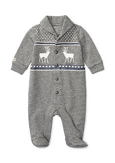 Ralph Lauren Childrenswear Terry Shawl Reindeer Coverall