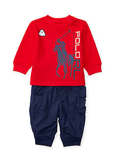 Ralph Lauren Childrenswear Waffle Cargo Pant Set Baby Boy