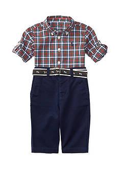 Ralph Lauren Childrenswear Chino Poplin Plaid Pant Set Baby/Infant Boy
