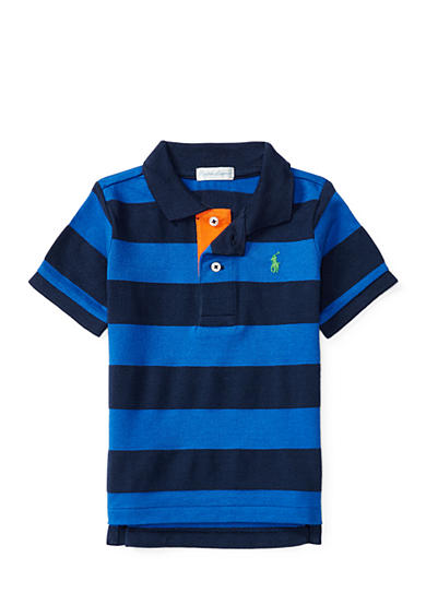 Ralph Lauren Childrenswear Striped Cotton Mesh Polo Shirt Baby Boy